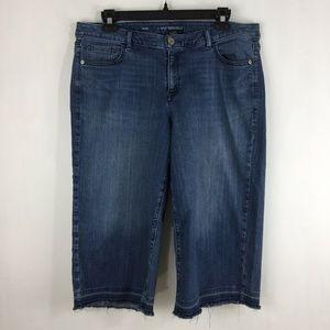 Lane Bryant Crop Raw Unfolded Hem Jeans Wide Leg